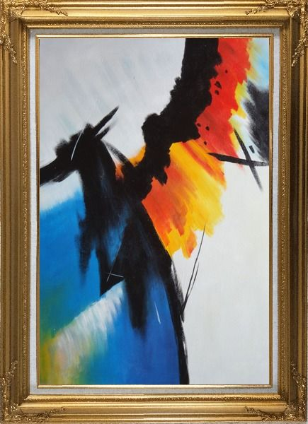 Framed Majestic II Oil Painting Nonobjective Decorative Gold Wood Frame with Deco Corners 43 x 31 Inches