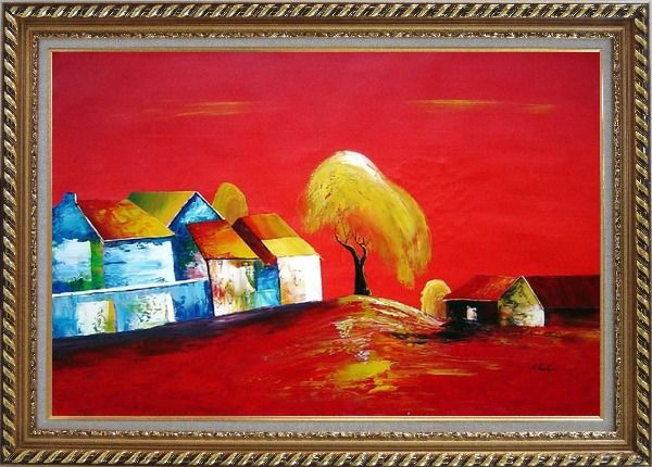 Framed Tree Within Village in Red Oil Painting Modern Exquisite Gold Wood Frame 30 x 42 Inches