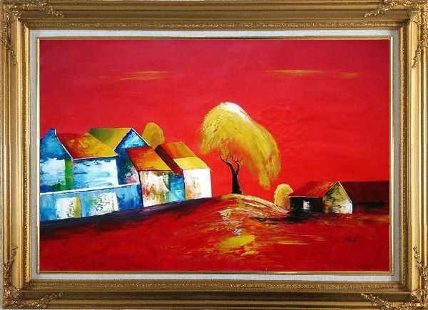 Framed Tree Within Village in Red Oil Painting Modern Gold Wood Frame with Deco Corners 31 x 43 Inches