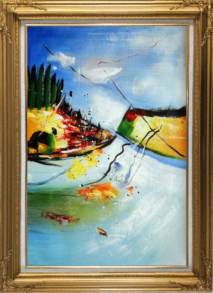 Framed Abstract Painting of River Cross Mountains Oil Nonobjective Modern Gold Wood Frame with Deco Corners 43 x 31 Inches