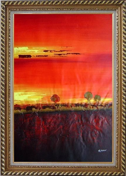 Framed Tree and Sunset Landscape Oil Painting Modern Exquisite Gold Wood Frame 42 x 30 Inches