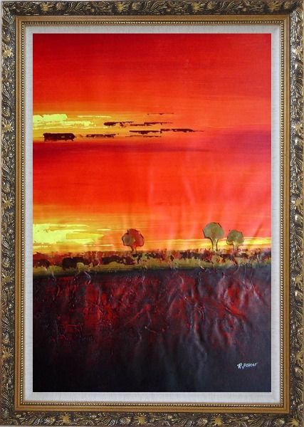 Framed Tree and Sunset Landscape Oil Painting Modern Ornate Antique Dark Gold Wood Frame 42 x 30 Inches