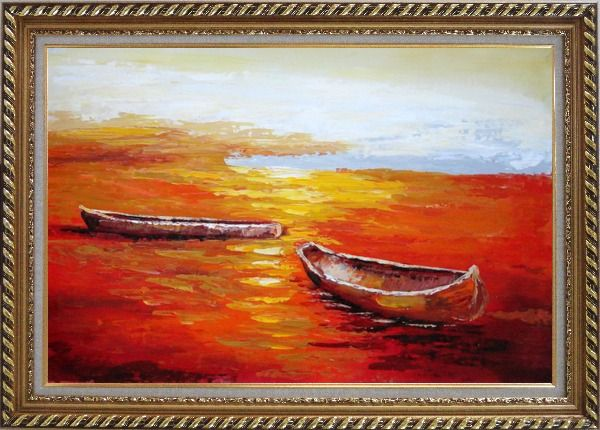 Framed Beachside Boats in Sunset Oil Painting Impressionism Exquisite Gold Wood Frame 30 x 42 Inches