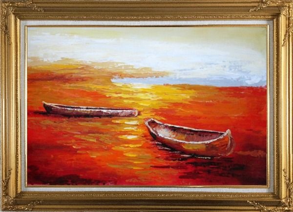 Framed Beachside Boats in Sunset Oil Painting Impressionism Gold Wood Frame with Deco Corners 31 x 43 Inches