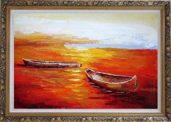 Framed Beachside Boats in Sunset Oil Painting Impressionism Ornate Antique Dark Gold Wood Frame 30 x 42 Inches