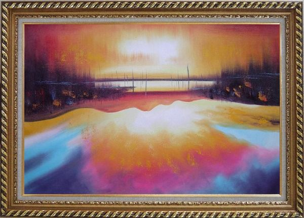 Framed Peacefule Lake Village at Sunset Oil Painting Seascape Modern Exquisite Gold Wood Frame 30 x 42 Inches