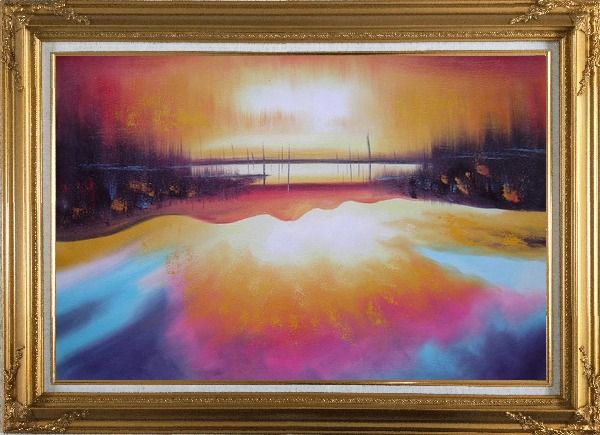 Framed Peacefule Lake Village at Sunset Oil Painting Seascape Modern Gold Wood Frame with Deco Corners 31 x 43 Inches