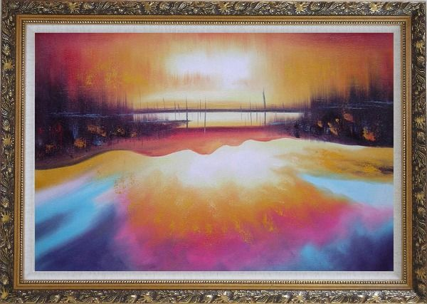 Framed Peacefule Lake Village at Sunset Oil Painting Seascape Modern Ornate Antique Dark Gold Wood Frame 30 x 42 Inches