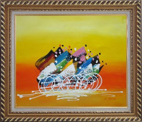 Framed Cycling Race Oil Painting Portraits Modern Exquisite Gold Wood Frame 26 x 30 Inches