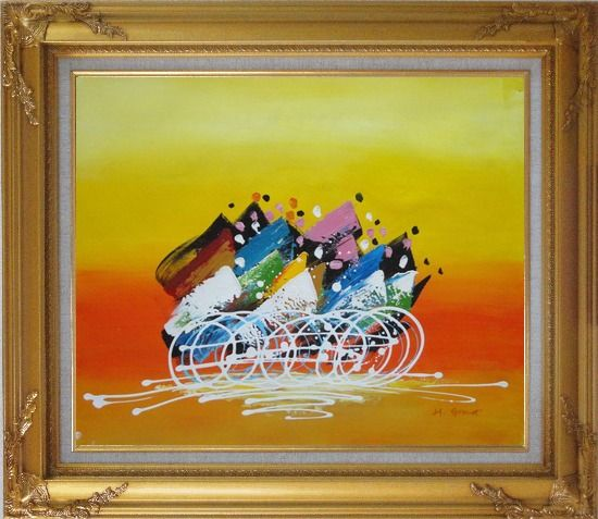 Framed Cycling Race Oil Painting Portraits Modern Gold Wood Frame with Deco Corners 27 x 31 Inches