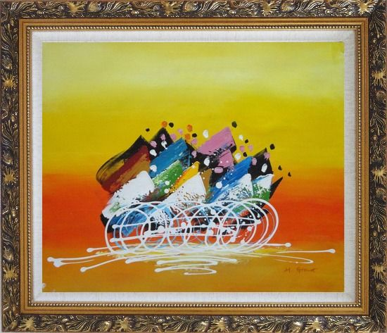 Framed Cycling Race Oil Painting Portraits Modern Ornate Antique Dark Gold Wood Frame 26 x 30 Inches