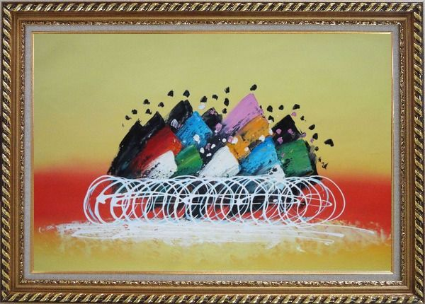 Framed Cycling Race Oil Painting Portraits Modern Exquisite Gold Wood Frame 30 x 42 Inches