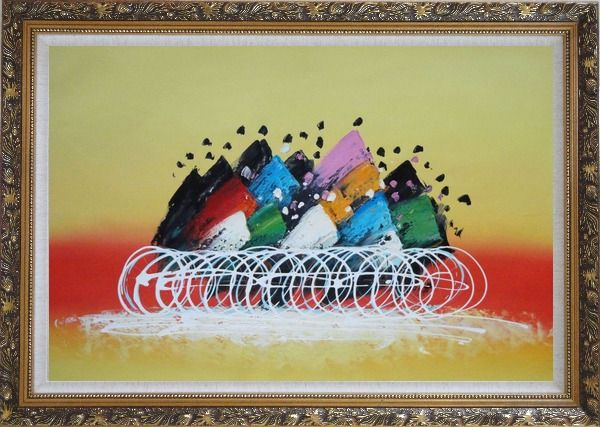 Framed Cycling Race Oil Painting Portraits Modern Ornate Antique Dark Gold Wood Frame 30 x 42 Inches