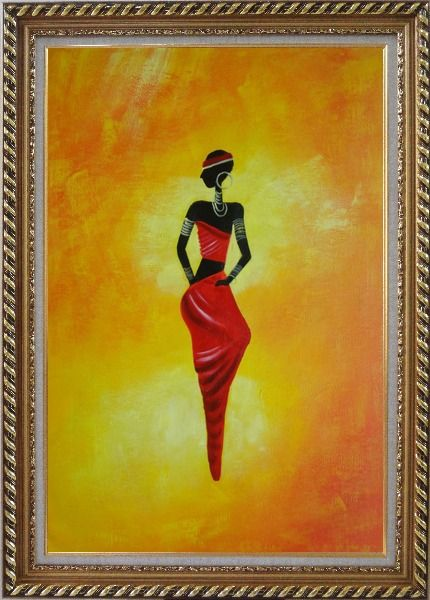 Framed Lady in Red II Oil Painting Portraits Woman Dancer Modern Exquisite Gold Wood Frame 42 x 30 Inches