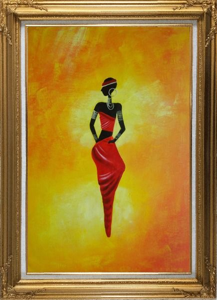 Framed Lady in Red II Oil Painting Portraits Woman Dancer Modern Gold Wood Frame with Deco Corners 43 x 31 Inches
