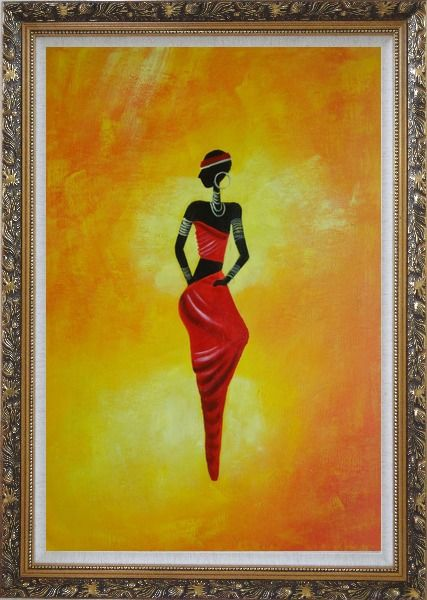 Framed Lady in Red II Oil Painting Portraits Woman Dancer Modern Ornate Antique Dark Gold Wood Frame 42 x 30 Inches
