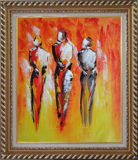 Framed Modern Painting of Working Men Oil Portraits Exquisite Gold Wood Frame 30 x 26 Inches