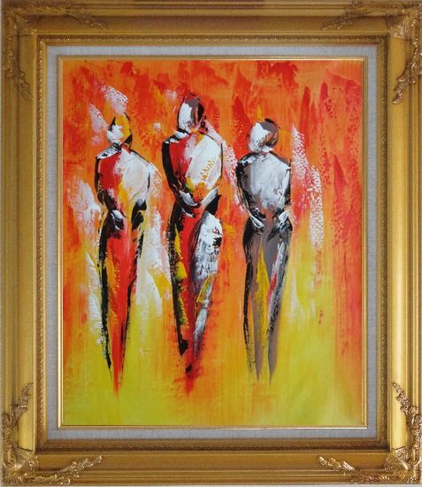 Framed Modern Painting of Working Men Oil Portraits Gold Wood Frame with Deco Corners 31 x 27 Inches
