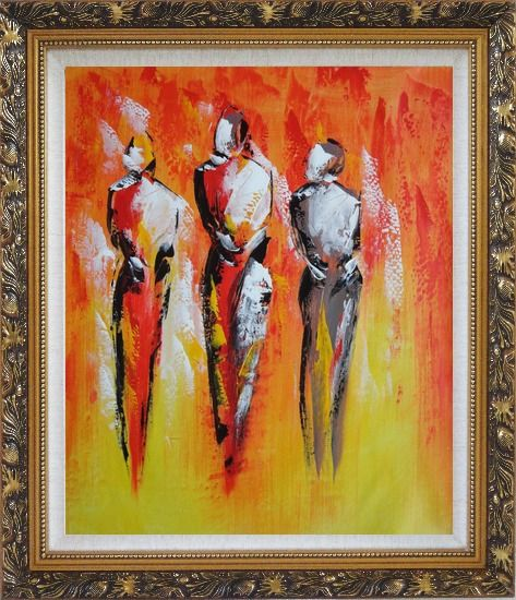 Framed Modern Painting of Working Men Oil Portraits Ornate Antique Dark Gold Wood Frame 30 x 26 Inches