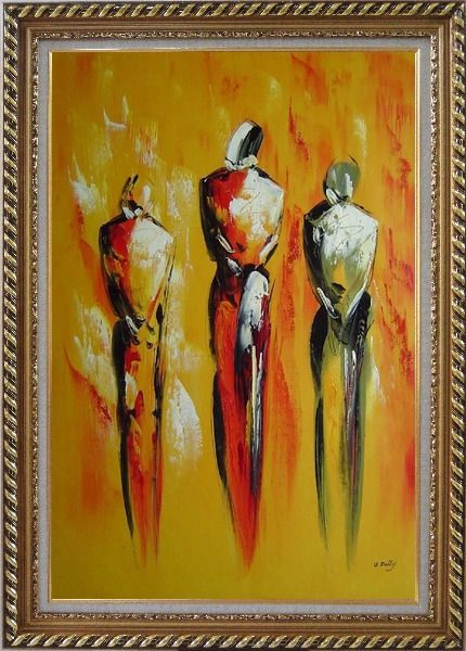 Framed Modern Painting of Working Men Oil Portraits Exquisite Gold Wood Frame 42 x 30 Inches