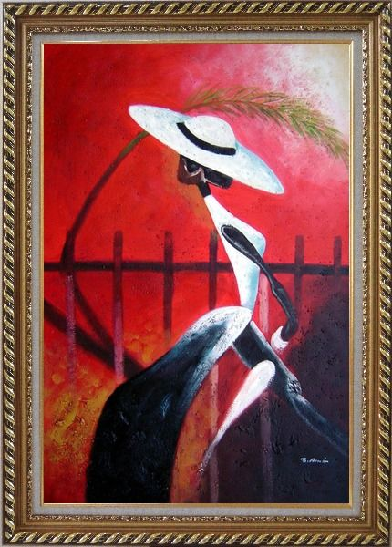 Framed Girl in White Oil Painting Portraits Woman Modern Exquisite Gold Wood Frame 42 x 30 Inches