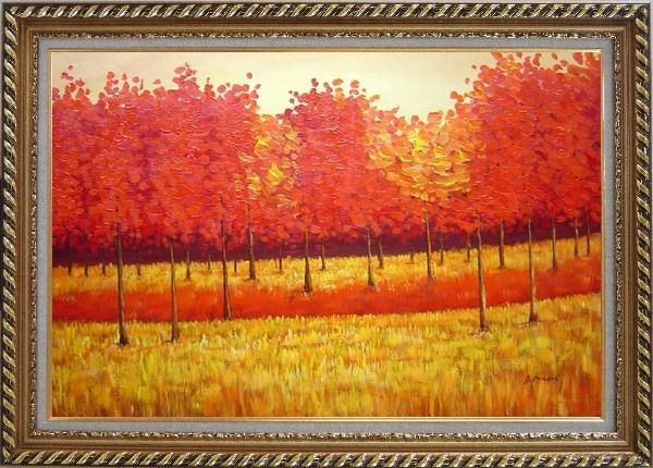 Framed Autumn Golden Red Forest Oil Painting Landscape Tree Naturalism Exquisite Gold Wood Frame 30 x 42 Inches