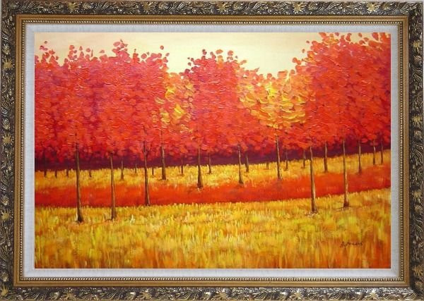 Framed Autumn Golden Red Forest Oil Painting Landscape Tree Naturalism Ornate Antique Dark Gold Wood Frame 30 x 42 Inches