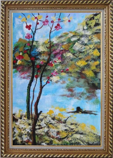 Framed Spring Pink Flower Tree Oil Painting Landscape Impressionism Exquisite Gold Wood Frame 42 x 30 Inches