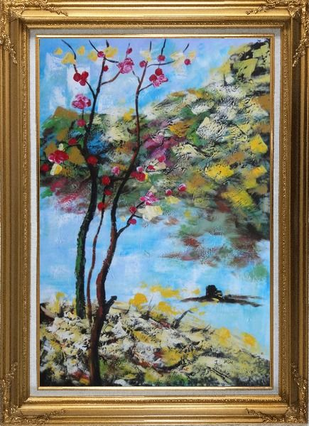 Framed Spring Pink Flower Tree Oil Painting Landscape Impressionism Gold Wood Frame with Deco Corners 43 x 31 Inches