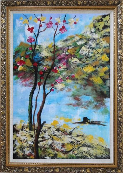 Framed Spring Pink Flower Tree Oil Painting Landscape Impressionism Ornate Antique Dark Gold Wood Frame 42 x 30 Inches