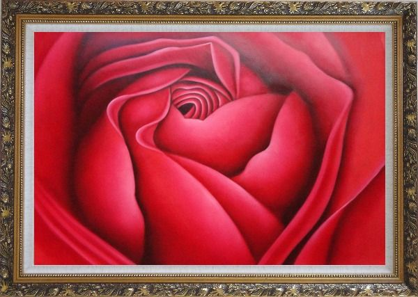Framed The Beauty of Life Oil Painting Flower Rose Decorative Ornate Antique Dark Gold Wood Frame 30 x 42 Inches