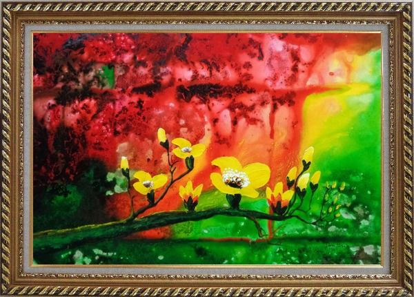 Framed Yellow Magnolia Denudata Blossoms in Red and Green Background Oil Painting Flower Modern Exquisite Gold Wood Frame 30 x 42 Inches