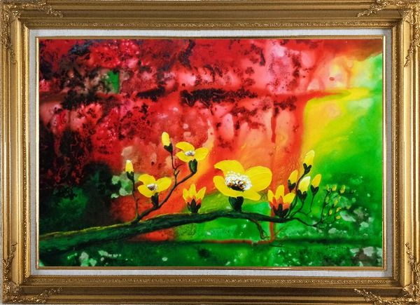 Framed Yellow Magnolia Denudata Blossoms in Red and Green Background Oil Painting Flower Modern Gold Wood Frame with Deco Corners 31 x 43 Inches