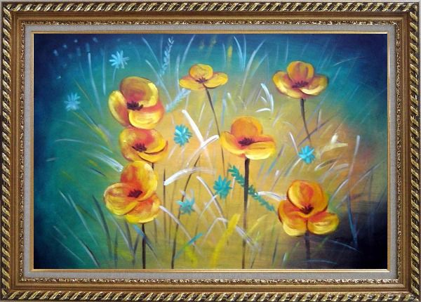 Framed Yellow Flower Field Oil Painting Naturalism Exquisite Gold Wood Frame 30 x 42 Inches