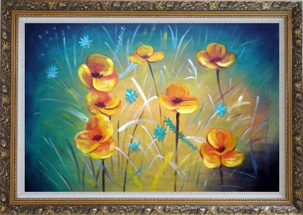 Framed Yellow Flower Field Oil Painting Naturalism Ornate Antique Dark Gold Wood Frame 30 x 42 Inches