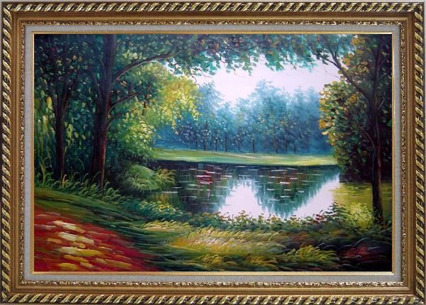 Framed Summer Peaceful Reflection Oil Painting Landscape River Naturalism Exquisite Gold Wood Frame 30 x 42 Inches
