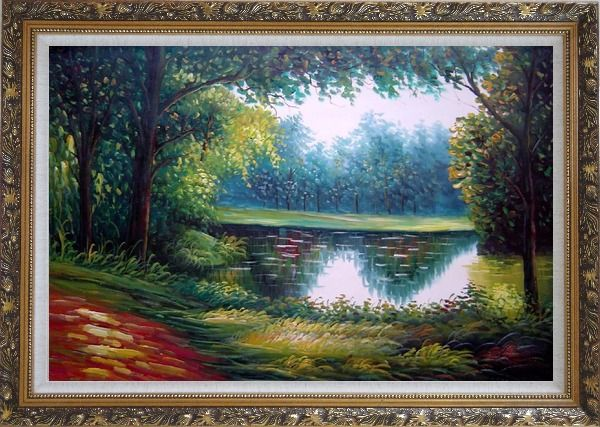 Framed Summer Peaceful Reflection Oil Painting Landscape River Naturalism Ornate Antique Dark Gold Wood Frame 30 x 42 Inches
