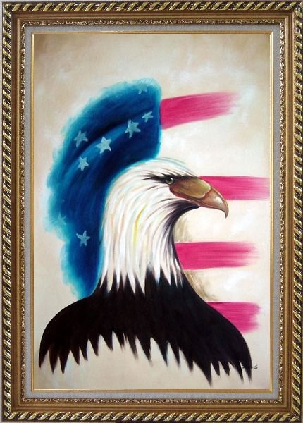 Framed Eagle Head and American Flag Oil Painting Animal Modern Exquisite Gold Wood Frame 42 x 30 Inches