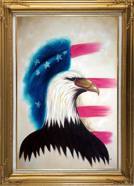 Framed Eagle Head and American Flag Oil Painting Animal Modern Gold Wood Frame with Deco Corners 43 x 31 Inches