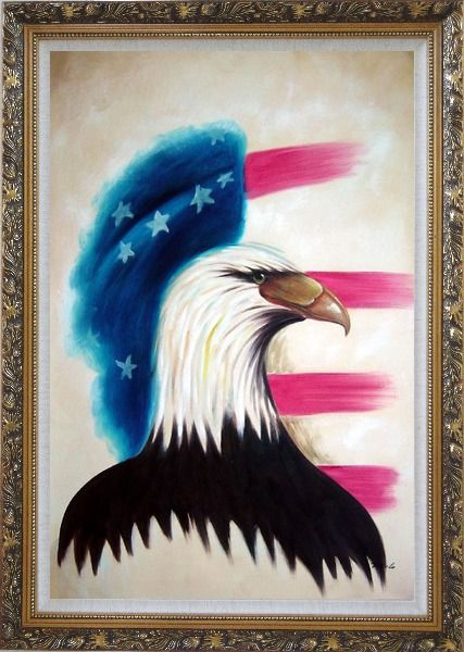 Framed Eagle Head and American Flag Oil Painting Animal Modern Ornate Antique Dark Gold Wood Frame 42 x 30 Inches