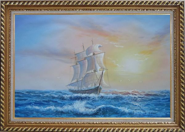 Framed Big Rigged Sailing Ship Oil Painting Boat Naturalism Exquisite Gold Wood Frame 30 x 42 Inches