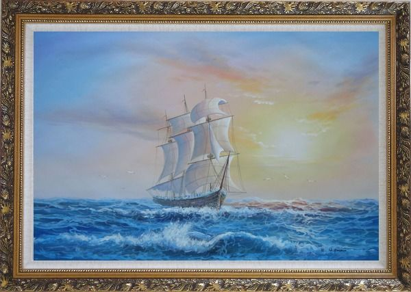 Framed Big Rigged Sailing Ship Oil Painting Boat Naturalism Ornate Antique Dark Gold Wood Frame 30 x 42 Inches
