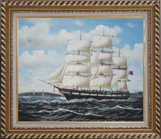Framed Vintage Sailing Ship Oil Painting Boat Classic Exquisite Gold Wood Frame 26 x 30 Inches