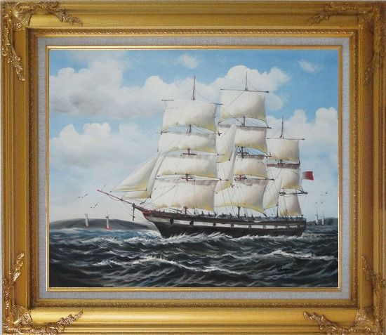 Framed Vintage Sailing Ship Oil Painting Boat Classic Gold Wood Frame with Deco Corners 27 x 31 Inches