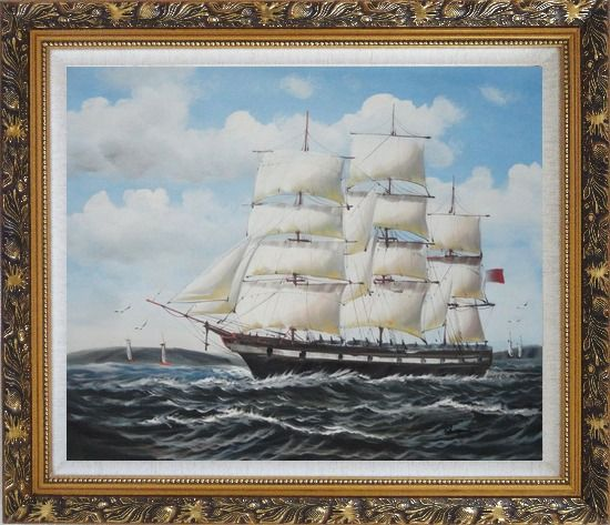 Framed Vintage Sailing Ship Oil Painting Boat Classic Ornate Antique Dark Gold Wood Frame 26 x 30 Inches