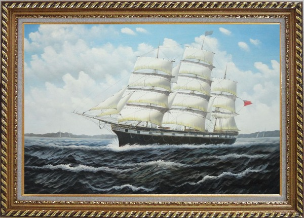 Framed Vintage Sailing Ship Oil Painting Boat Classic Exquisite Gold Wood Frame 30 x 42 Inches