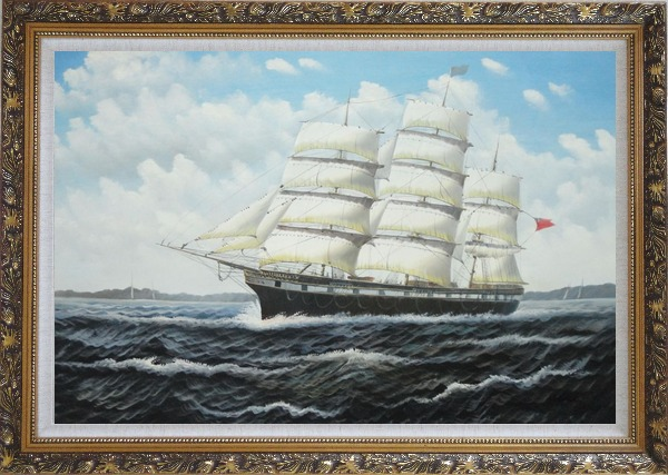 Framed Vintage Sailing Ship Oil Painting Boat Classic Ornate Antique Dark Gold Wood Frame 30 x 42 Inches