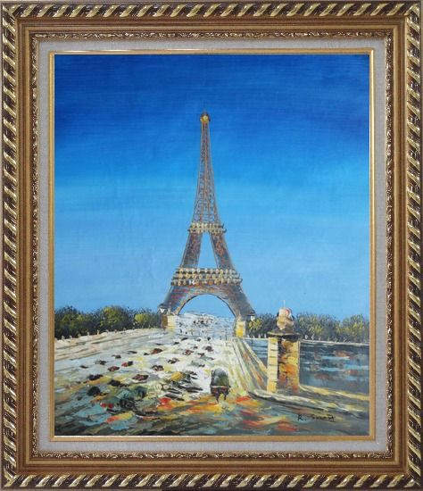 Framed Eiffel Tower Scene Oil Painting Cityscape France Impressionism Exquisite Gold Wood Frame 30 x 26 Inches