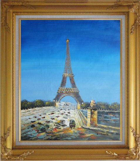 Framed Eiffel Tower Scene Oil Painting Cityscape France Impressionism Gold Wood Frame with Deco Corners 31 x 27 Inches