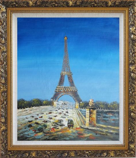 Framed Eiffel Tower Scene Oil Painting Cityscape France Impressionism Ornate Antique Dark Gold Wood Frame 30 x 26 Inches
